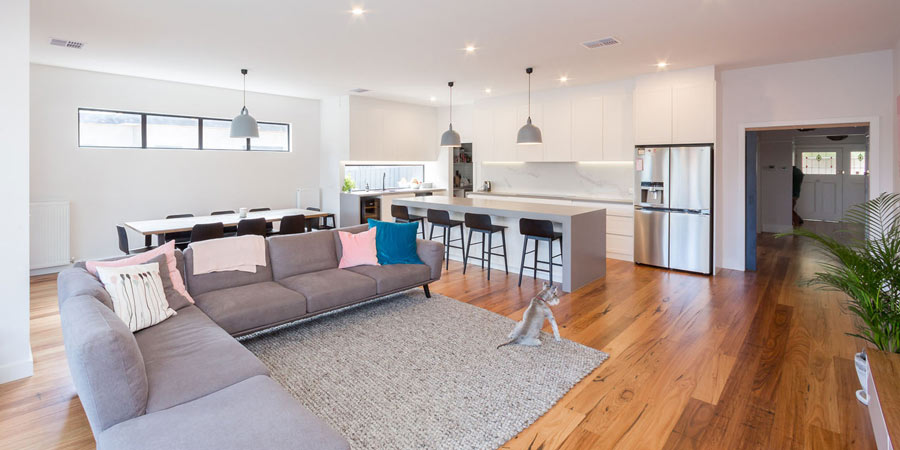 Bentleigh custom build kitchen living room